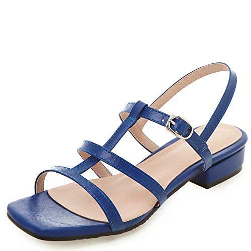 Vimisaoi Women's Summer Chunky Mid Heel Wedges Sandals, Square Peep Toe Slip On Ankle Strap Dress Party Caged Flats Shoes ()