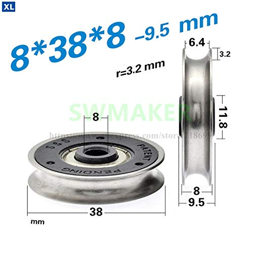 Fevas 10pcs 8388mm Metal U-Groove Wheel Rolling Pulley, Non-Standard 608 Bearing Roller, ABS Plastic, Wire Rope Guide Wheel