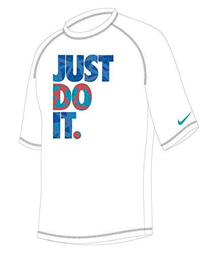 Nike Boy's Granite Short Sleeve Rash Guard M White (Boys Nike Swim Shirts)