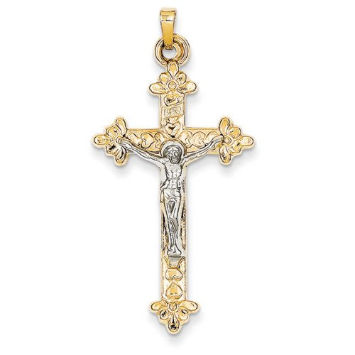 IceCarats® Designer Jewelry 14K Two-Tone Inri Hollow Crucifix Pendant (Two Tone Inri Hollow Crucifix)