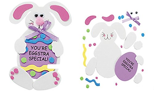 12 pack - Easter Bunny Craft Kits - Bunny Holding Egg (Easter Bunny Crafts)