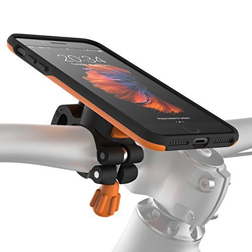 MORPHEUS LABS M4s iPhone 8 Plus Bike Mount, Phone Holder & iPhone 8 Plus Case, Bicycle Holder Adjustable fits to most handlebars, quick lock magnetic for iPhone 8 Plus / 7 Plus / 8Plus /7Plus [Orange] by MORPHEUS LABS