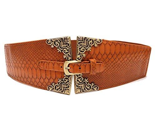 Aivtalk Women's Crocodile Leather Pin Waist Belt Cinch, Brown (Faux Crocodile Belt)