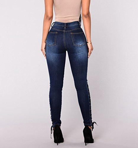 Alla Donna Pantalone Blu Vita Casual Pantaloni Alta Stretch Dritti A Scuro Di Jeans Design Skinny Moda Wanyang pXHwdp