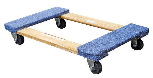 Vestil HDOC-1830-9 Hardwood Dolly with Carpet End, 900 lbs Capacity, 30