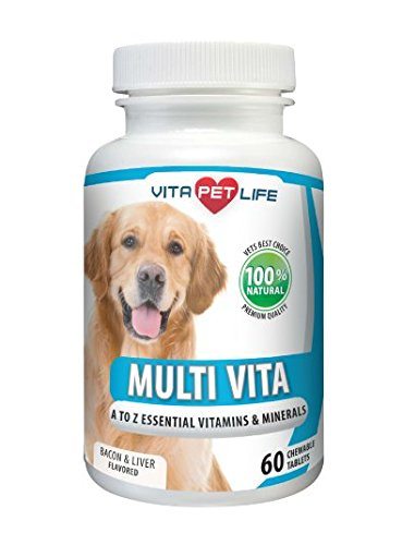 Multivitamin for Dogs, Essential Vitamins and Minerals, Dog Immune System Booster with Vitamin B Complex, Calcium, Supports Heart, Bones, Teeth, Skin and Coat, 100% Natural Chews. (60 Chews)