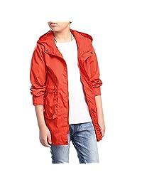 Zhhlinyuan Fashion Boy Solid color Casual Jacket Kids Hooded Windbreaker Outwear