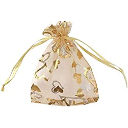 "SumDirect 100Pcs 3.35""x4.53"" Sheer Drawstring Heart Organza Jewelry Pouches Wedding Party Christmas Favor Gift Bags (Gold)"