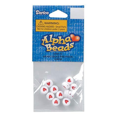 Darice Red Hearts-Round-White-6mm Acrylic Alphabet Beads