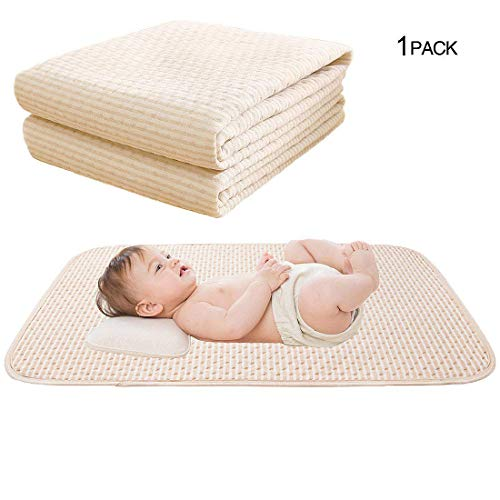 Baby Waterproof Pad Bed Mattress Protector Reusable Incontinence Pads Organic Cotton 4 Protective Layers Ultra Absorb Sheets for Infants Kids, Size 39.5