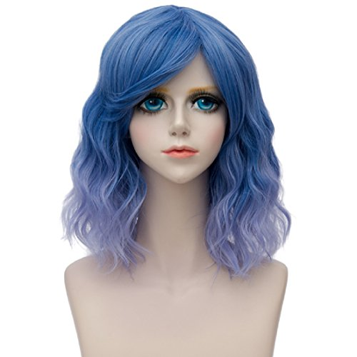 Probeauty Sweety Collection Lolita 40CM Short Curly Wig Fashion Women Cosplay Wig + Wig Cap (Ash Blue Ombre F5) -
