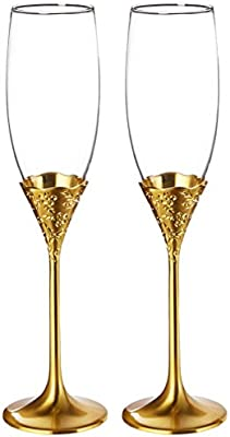Sektgläser Set Gold Flower Champagnerflöten Sektempfang