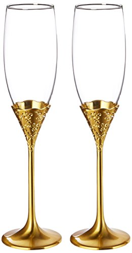 Gold Classic Flutes - Toasting Flutes - Classic Gold Romance
