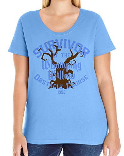 Tenacitee Women's Survivor of The Whomping Willow Obstacle Course Plus Size Scoop Neck T-Shirt, Size 4, Carolina Blue from Tenacitee
