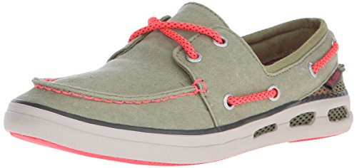 Columbia Women's Vulc N Vent Boat Canvas Casual Shoe, Cool Moss/Laser Red, 7 B US