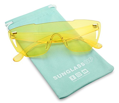 Colorful Bold Oversize One Piece Mono Block Full Shield Rimless Color Sunglasses (Yellow (Shield), Transparent) (Rimless Sunglasses)