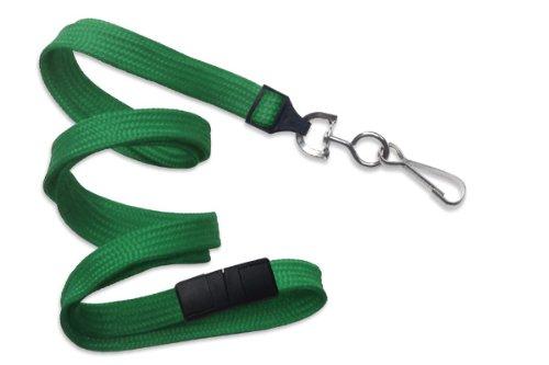 Green Flat Braid Lanyard - Green 3/8