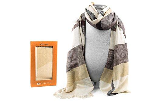 écharpe femme RONCATO pashmina beige brun avec franges 100% viscose L1373