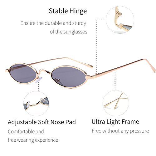 Vintage Slender Oval Super Small Sunglasses for Women Men Retro Small Round Tiny Sun Glasses for Girls Unisex with Fashion Shades (Gold Frame Grey Lens)
