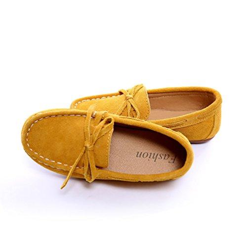 CHENGYANG Mädchen Jungen Bowknot Komfort Wildleder Loafers Halbschuhe Mokassin Schuhe Slipper Gelb