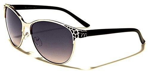 VG Designer chat doeil ovale femme lunettes de soleil - COMPLET UV400 Protection GRATUIT vibranthut microfibre poche inclus Or/Noir