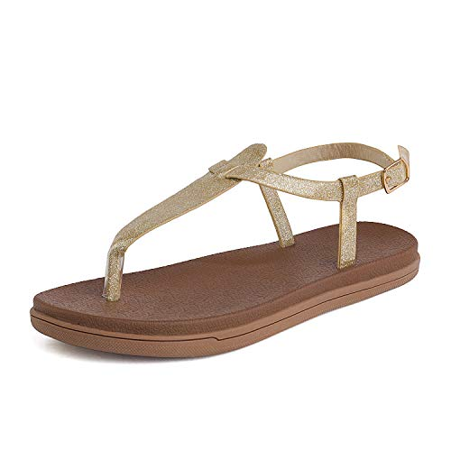 DREAM PAIRS Women's T Strap Thong Sandal Size 6 M US Gold Dumbo-Thong