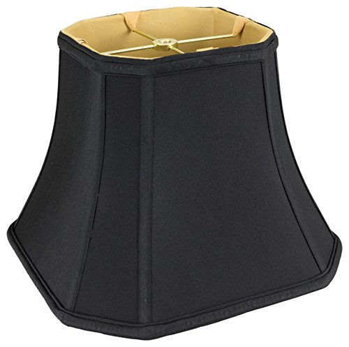 Upgradelights Black Silk with Gold 14 Inch Rectangle Cut Corner Lampshade ()