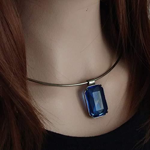 - Necklace Choker Collar Large Rhinestone Cobalt Blue Gun Metal Necklace For Women