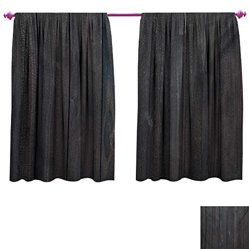 cobeDecor Dark Grey Drapes for Living Room Wood Fence Texture Image Rough Rustic Weathered Surface Timber Oak Planks Blackout Window Curtain W72 x L63 Dark Grey Blue