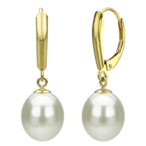 Freshwater Cultured White Pearl Leverback Earrings 14K Yellow Gold Hypoallergenic 10-10.5mm