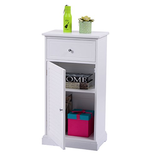 Amazon Com Giantex White Storage Floor Cabinet Wall Shutter Door Bathroom Organizer Cupboard Shelf Kitchen Dining
