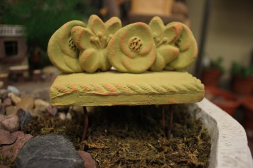 Ancient Graffiti Clay Flower Backed Bench #AG-5325