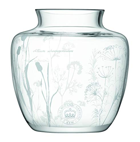 LSA Kew Gardens Glass Vase with Etched Herb Floral Design, -