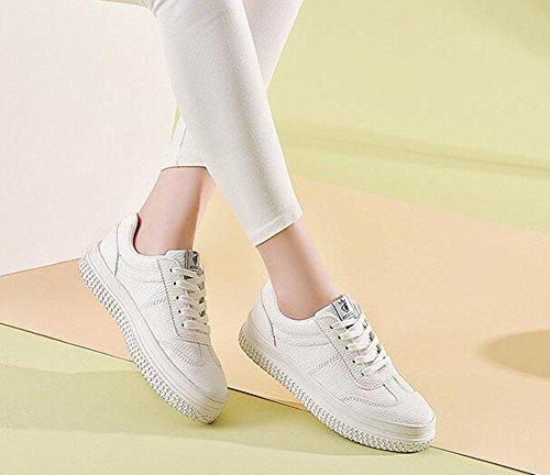KUKI Kleine weiße Schuhe, Damen Freizeitschuhe am Ende der Plattform Schuhe lose Schuhe white