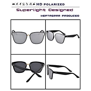 Heptagram TR90 Unisex Wayfarer Sunglasses with 7 Color , Polarized 100%UV Protection sunglasses (Black/Silver)