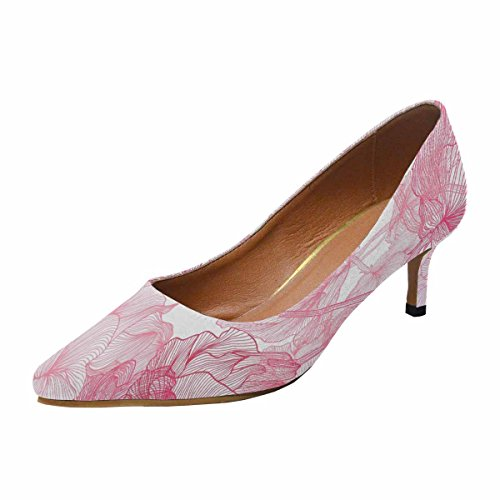 InterestPrint Multi Pump Low Pointed Pink Kitten Toe 1 Womens Heel Shoes Dress Roses qqnUx4Fw