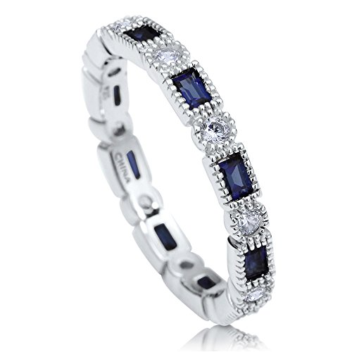 - BERRICLE Rhodium Plated Sterling Silver Cubic Zirconia CZ Art Deco Eternity Band Ring Size 7