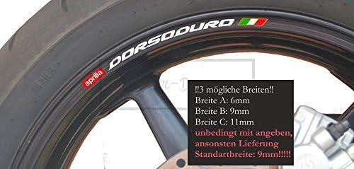 Sticker-Designs 8Stück!Felgen-Rand-Aufkleber Made IN Germany kompatibel für: Aprilia Dorsoduro 750 smv 1200 Moto Motorcycle Rim A039 UV&Waschanlagenfest Bike Motorad