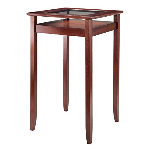 Winsome Wood Halo Pub Table with Glass Inset & Shelf, Walnut by Winsome Wood