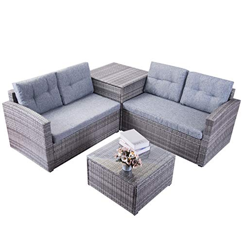 Leisure Zone Patio Furniture Set 4 Piece PE Rattan Wicker Chairs Grey Cushion with Coffee Table with Storage Box Outdoor Indoor Sofa (Grey)