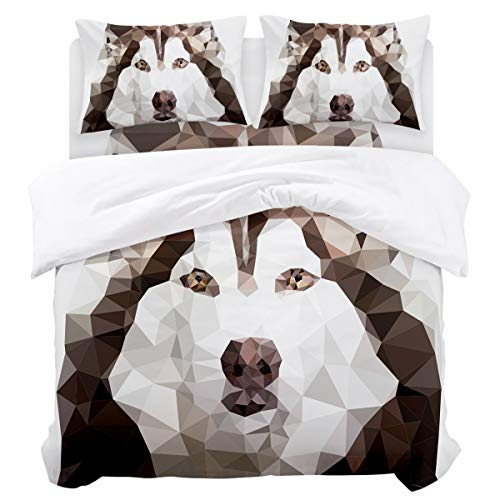 Duvet Cover Set Bedding Set,Lightweight Microfiber 4Piece (1 Duvet Cover + 1 Flat Sheet +2 Pillowcase),Comfortable Luxurious Hypoallergenic,Geometric Animal Pet Dog Pattern Alaska King, 92 by 106 -