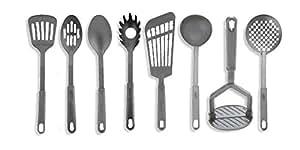 LeRose Classic 8 Piece Cooking Utensils Tools Set ~ Black Nylon ~ Heat Resistant ~ Spoons, Masher, Pasta Fork, Skimmer, Ladle, Spatulas