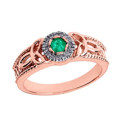 - 10k Rose Gold Emerald and Diamond Ladies Trinity Knot Proposal Ring (Size 12)