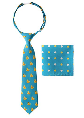 Canacana Rubber Duck Woven Microfiber Pre-tied Boy's Tie with Polka Dots Pocket Square Gift Box Set - Light Blue - 4 - 7 years, Christmas gift