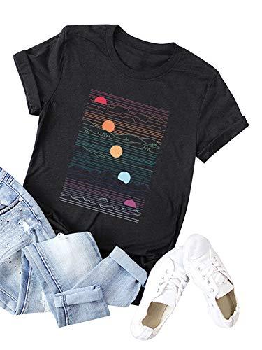 Festnight Fashion Women T-Shirts Printing, Women's Cute T Shirt Junior Tops Teen Girls Graphic Tees Black