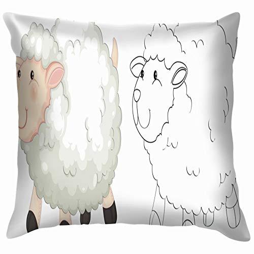 Doodle Animal Fluffy Sheep Animals Wildlife Soft Cotton Linen Cushion Cover Pillowcases Throw Pillow Decor Pillow Case Home Decor 24X24 Inch]()