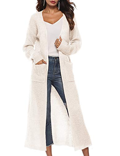 (Womens Long Slit Sweater Long Sleeve Casual Loose Fit Open Front Drop Shoulder Lightweight Rib Knit Long Maxi Cardigan Sweater Knit Duster White-Cream)