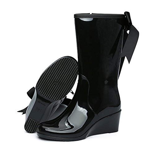 Boots Women's Mid Wedge JESSI Bowknot Stylish Waterproof MAIERNISI Rain Black Calf Fn5zTwqnc