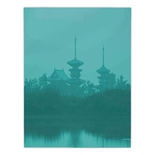 iPrint Satin Rectangular Tablecloth [ Asian,Various Temples above the Sea Holy Tank in Fog Symbolic Faith Custom Pagoda Monochrome Decorative,Turquoise ] Dining Room Kitchen Table Cloth Cover by iPrint
