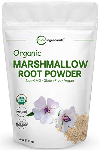 Pure USDA Organic Marshmallow Root Powder, 4 Ounce, Supports Digestive Gastrointestinal Health, No Irradiated, No Contaminated and No GMOs, Vegan Friendly